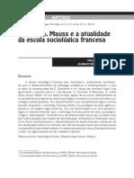 Durkheim Mauss e a Atualidade Da Escola Sociológica Francesa