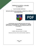 """""""ANÁLISIS DE LOS FACTORES QUE INFLUYEN EN EL CONFLICTO SOCIOAMBIENTAL DEL PROYECTO MINERO METALÚRGICO TANTAHUATAY EN EL DEPARTAMENTO DE CAJAMARCA"""""""