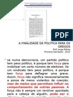 A Finalidade da Política para os Gregos