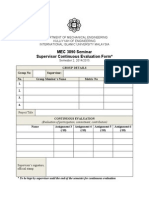 Supervisor Continuous Evaluation Form