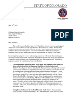 May 14, 2015 Legislator Letter From Gov. Hickenlooper