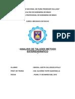 Analisis de Taludes Metodo Estereografico