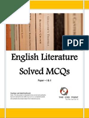 English Literature Solved MCQs pdf | Pride And Prejudice