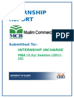 Internship Report of Mcb