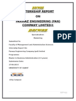 Internship Report of Parwaz Engineering (Fan) Company Limited