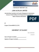 Internship Report on Bank Alfalah Limited