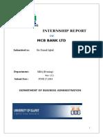 Internship Report on Mcb Bank Ltd