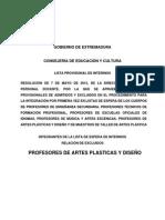 Listado Provisional de Interinos de Profesores de Artes Plásticas y Diseño 2015-2016. Excluidos