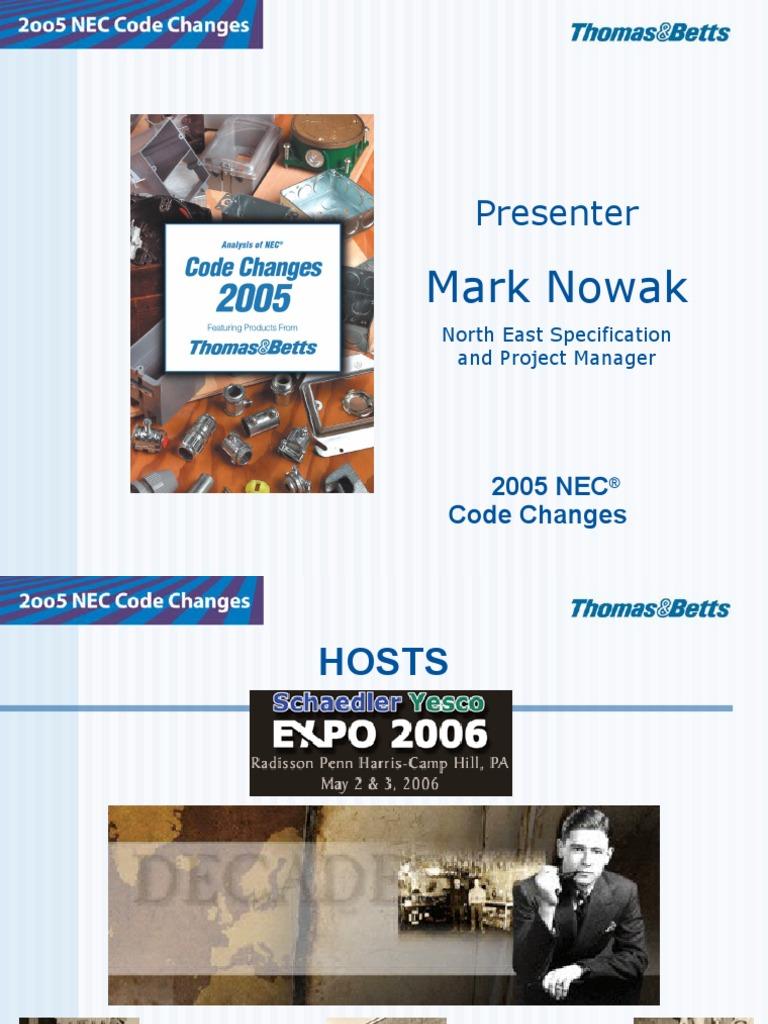 2005 Nec Code Changes