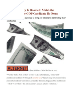Our Democracy is Doomed Match the Plutocrat to the GOP Candidate He Owns