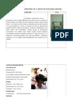 Descripcion Impresora 3d y Gafas de Realidad Virtual