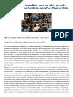 Francisco- Audiencia Al Equipo de Fútbol Lazio 7-5-15 Toda Disciplina Deportiva Tiene Un Valor, No Solo Físico y Social, Sino También Moral