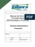 Manual de Normas e Procedimentos Adm e Financas - Gerencia Adm Finac