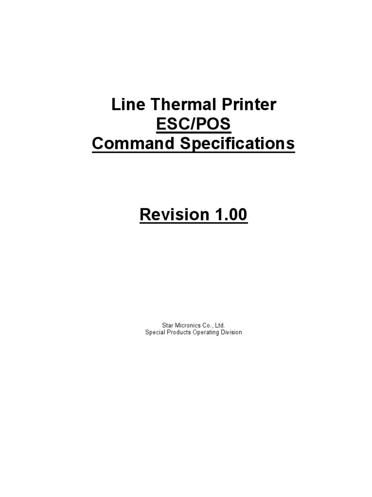 ESC POS Command Guide | Electronic Engineering | Computer Networking