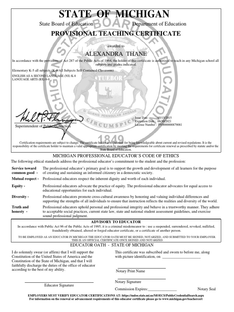 State Of Michigan Certification Notary Public Politics