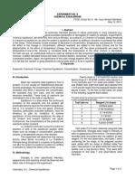 Chem. 14.1 - Expt. 9 Chem Lab Report - Chemical Equilibrium