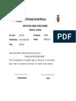 Certificado Matricula