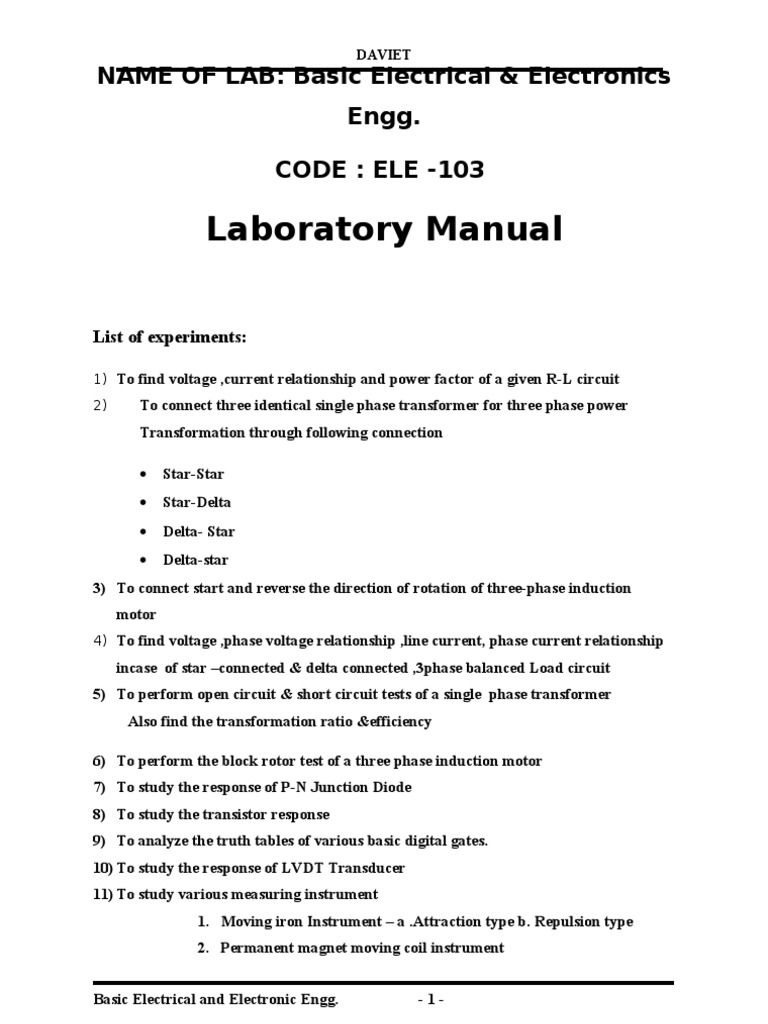 lab file basics of electronics electrical engg for ptu b tech rh scribd com Electrical Panel General Electric Research Laboratory