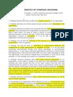 Characteristics of Strategic Decisions