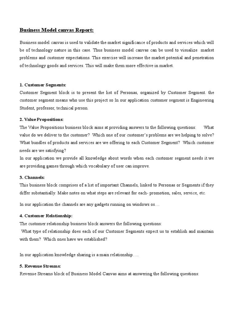 Bmc Report 2 Business Model Business