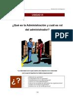UNIDAD VI La Administraci+¦n y el Rol del Administrador