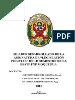 Sylabus Desarrollado Legislacion Policial 2015