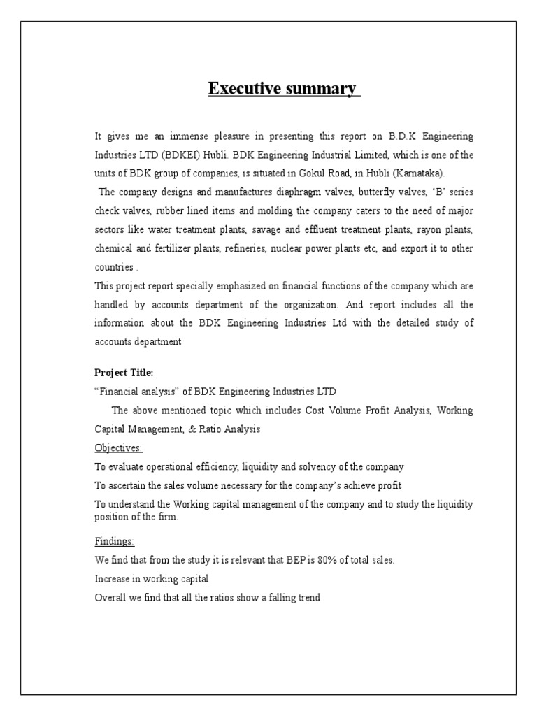 Sample Project Report on Financial Analysis at b d k Ltd