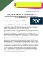 Mensaje de la IM-Defensoras al CENIDH en su 25 aniversario