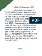 factfile of william shakespeare life