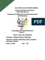 Clasificacion de Las Variables para una Investigacion