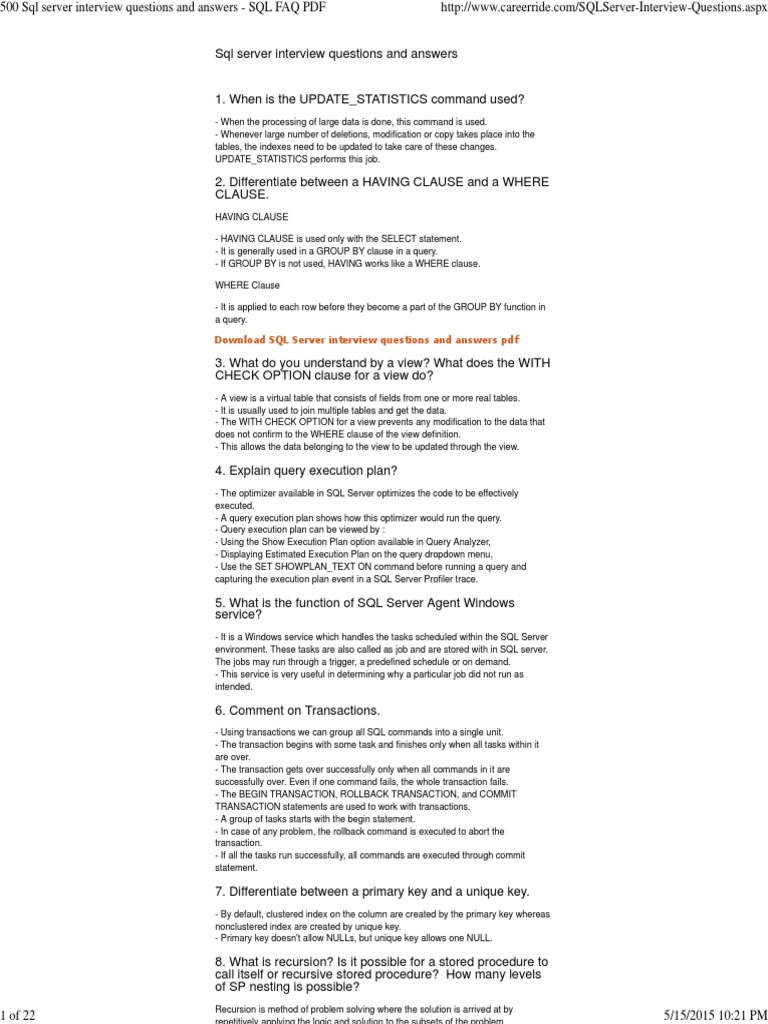500 sql server interview questions and answers sql faq pdf 500 sql server interview questions and answers sql faq pdf microsoft sql server database index gamestrikefo Images