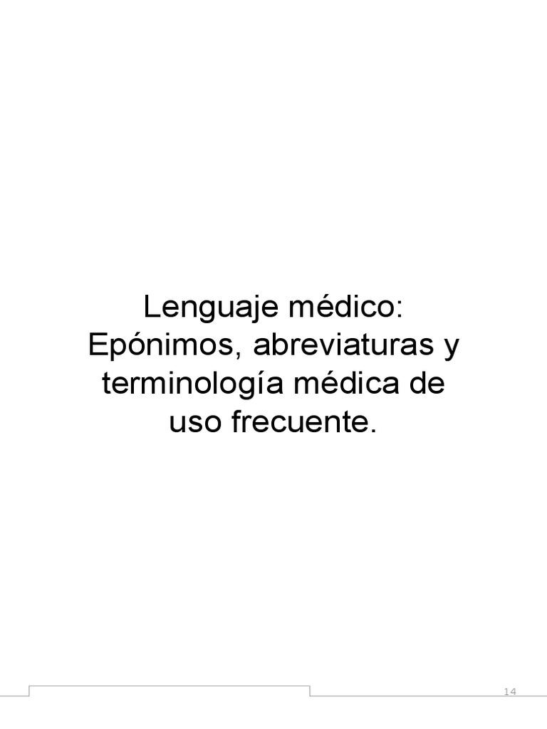 Lenguaje Médico Epónimos Abreviaturas Y Terminología Médica De Uso