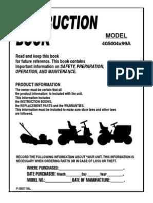 Murray 40 Inch Owners Manual | Mower | Lawn Mower