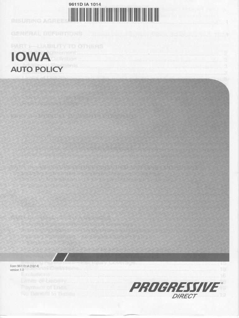 Progressive Automobile Insurance Iowa Policy Form 9611d Ia 201410