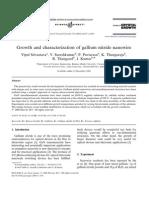 Growth and Characterization of Gallium Nitride Nanowire