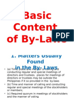 Basic Content of by-Laws