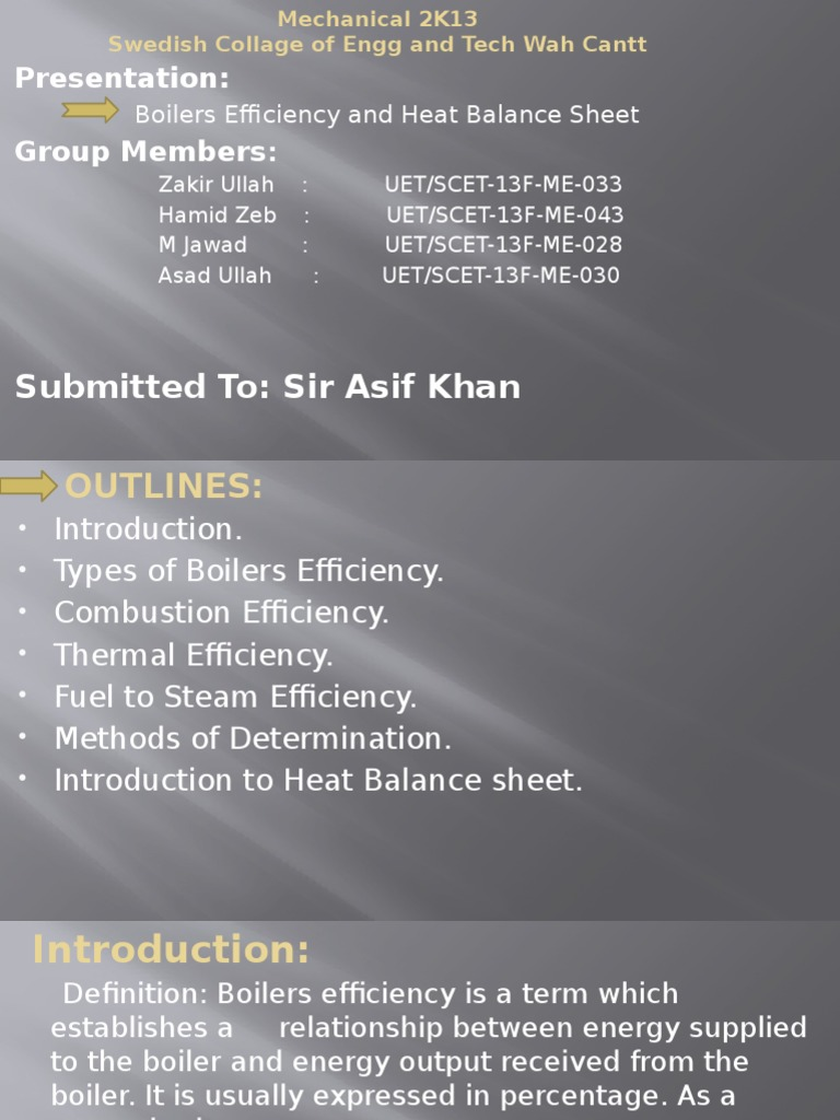 Thermodynamic Presentation | Boiler | Heat Transfer