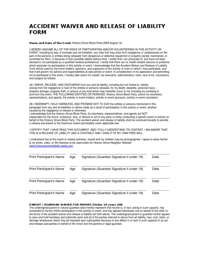 Accident Waiver And Release Of Liability Form   Indemnity   Negligence