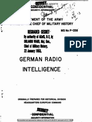 FMS P-038 German Radio Intelligence | Military Organization