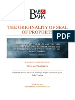 The Originality of Seal of Prophets