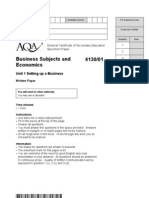 AQA GCSE Specimen Paper Business Studies Exam