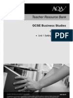 AQA GCSE Unit 1 Scheme of Work Business Studies