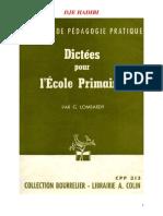 Langue Francaise Dictee 02 CM1 CM2 Certificat d Etudes
