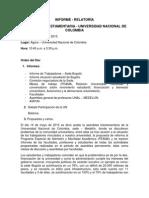 Informe - Relatoria Unal -Triestamentaria Mayo 14
