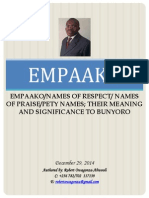 Empaako-names of Praise- Names of Respect-pety Names