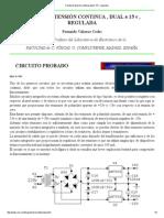 Fuente de tensión continua,dual ± 15 v, regulada
