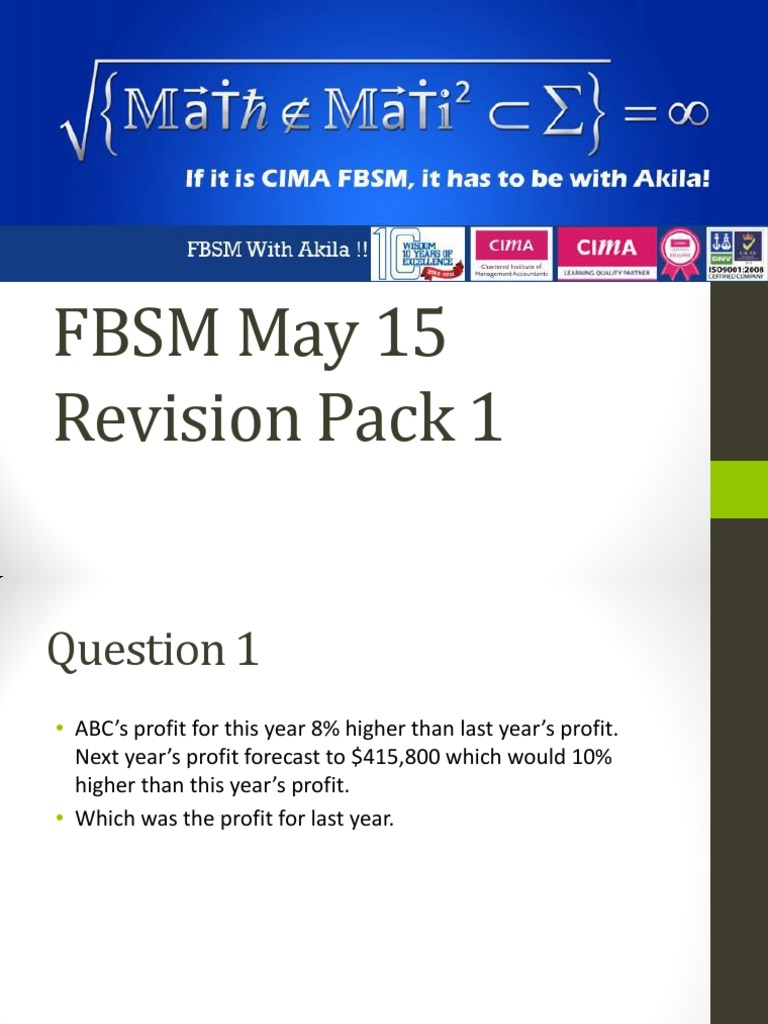 Fbsm May 15 Revision Pack 1 By Akila Gunarathna Finance General Economies