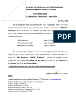 Credit Course Exam Notification May 2015