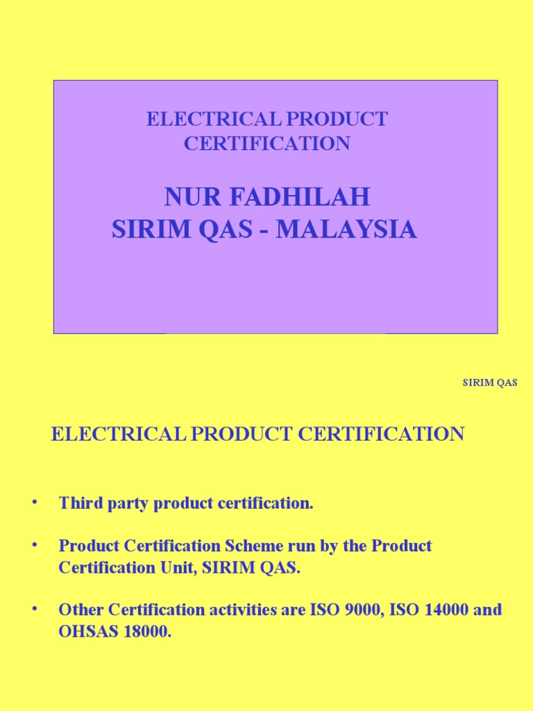 Electrical Prodcut Certification By Sirim Ac Power Plugs And