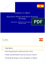 Economic Policy and 2010 Funding Strategy of Spain